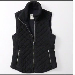 A&F Black Fleece Quilted Vest Size L